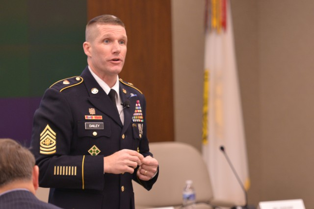 "Sgt. Maj. of the Army Daniel A. Dailey spoke March 23, 2017, during an Association of the U.S. Army ""Hot Topics"" forum on installation management, in Arlington, Va."