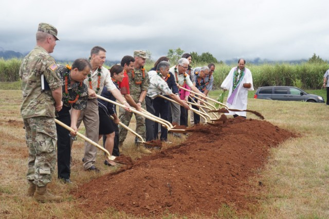 On Aug. 22, 2016, Kahu Kordell Kekoa, right, leads representatives from the U.S. Army Garrison-Hawaii, Hawaiian Electric Company and government officials in a blessing and groundbreaking for a new power plant that will be built on Schofield Barracks. The plant will strengthen Oahu's electric grid and make it more reliable, provide energy security for the U.S. Army in Hawaii, and improve the integration of renewable energy resources, such as solar and wind power.