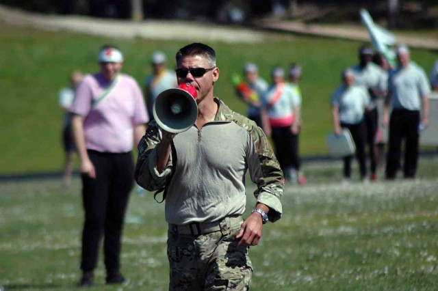 PRESIDIO OF MONTEREY, California -- Lt. Col. James McCullough, commander of the 311th Training Squadron, fills in his Airmen on the rules of engagement for the unit's combat dining-in at the Hilltop Track March 11.
