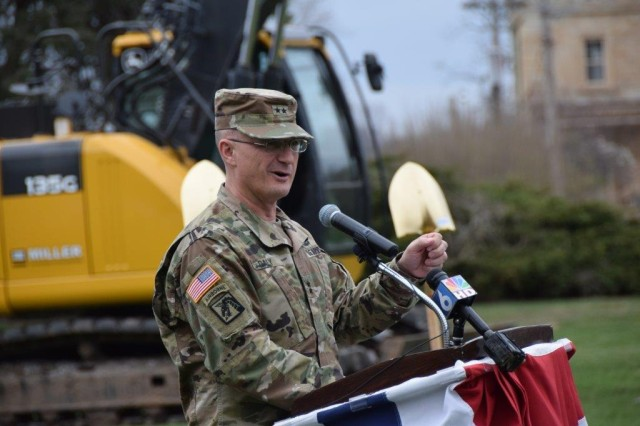 Maj. Gen. Edward Daly, senior commander, Rock Island Arsenal, speaks during a groundbreaking ceremony for the construction of 71 military houses at the Arsenal.