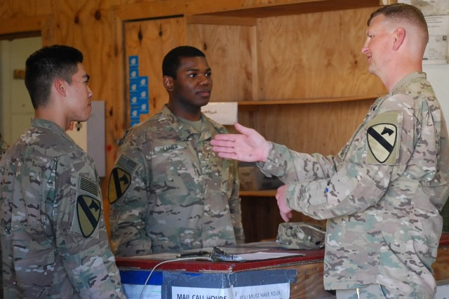 Lt. Col. Brock Larson, commander Special Troops Battalion, 1st Cavalry Division Resolute Support Sustainment Brigade (1CD RSSB) meets with Soldiers at the Fenty Satellite Post Offices (SAPO), February 27, 2017.