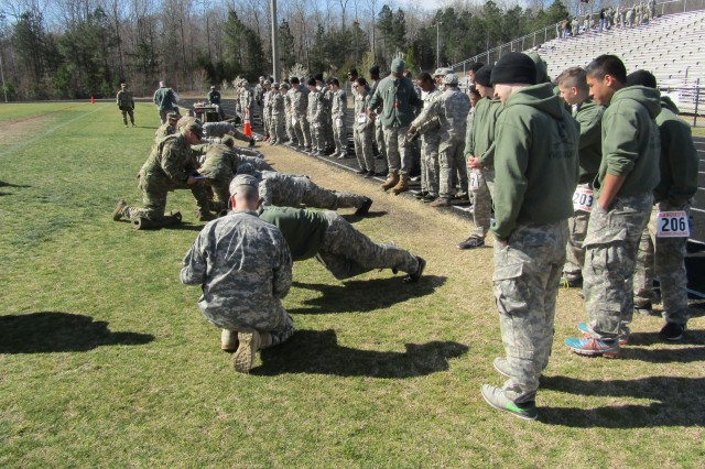 80th Training Command Soldiers grade Junior Reserve Officer Training Corps high school students from across Virginia at the 17th Annual Raider Challenge hosted by Manchester High School in Midlothian, Virginia, on March 11, 2017.