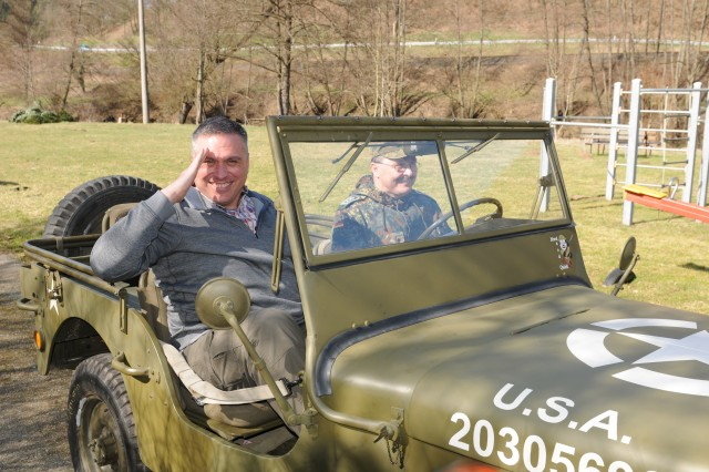 Col. Mike Elliott, Regional Health Command Europe chief of staff, had the opportunity to ride in an authentic World War II Jeep, owned and driven by Sgt. Maj. Martin Heinlein, from the German Infantry Training Center in Hammelburg, Germany.