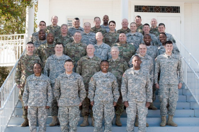 Participants in a class conducted by First Army's 177th Armored Brigade Unit Ministry Team for Mississippi Army National Guard Unit Ministry Teams pose for a picture at Camp Shelby, Miss., Feb. 4, 2017.