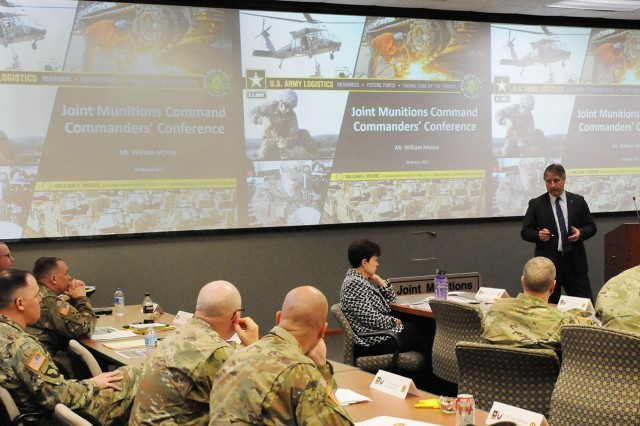 Bill Moore, Headquarters, Department of the Army, Assistant Deputy Chief of Staff, G4, provides insight from the Pentagon to JMC senior leaders during a commanders forum, 28 March.