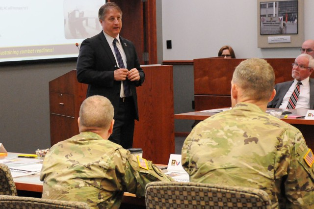 Bill Moore, Headquarters, Department of the Army, Assistant Deputy Chief of Staff, G4, responds to questions from JMC senior leaders during a commanders forum, 28 March.