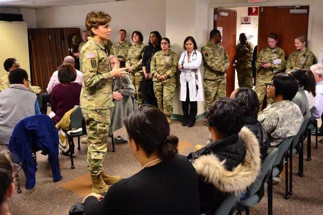 "20170324-A-MO201-220 FORT MEADE, MD (Mar. 24, 2017) Commanding General, U.S. Army Medical Command (MEDCOM) and the 44th Army Surgeon General, Lt. Gen. Nadja West talks with staff members during a Town Hall meeting at the Fort Meade Medical Department Activity (MEDDAC) and Kimbrough Ambulatory Care Center (KACC). West was at the medical treatment facility for a command visit. (US Army photo by D. L. ""Paul"" Farley)"