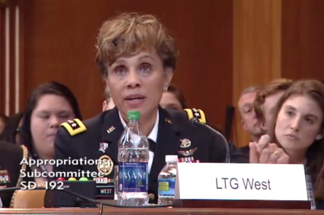 Lt. Gen. (Dr.) Nadja West testifies that Army medicine has launched aggressive efforts over the past year to expand access to health care for Soldiers and family members during a hearing for the Senate appropriations subcommittee on defense in Washington, D.C., March 29, 2017.