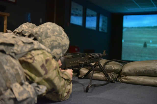 Headquarters, Headquarters Company, United States Army Garrison Daegu Soldiers shoots M240 machine gun at the targets during Engagement Skills Training on Mar. 16.