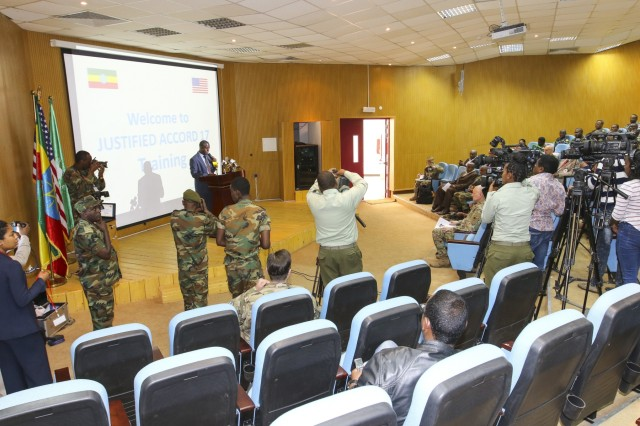 Nearly 100 participants from eight nations and seven organizations come together for the U.S. Army Africa-led exercise Justified Accord 17 at the Peace and Support Training Center in Addis Ababa, Ethiopia, Mar. 20-24, 2017. The exercise is an annual combined joint exercise focused on bringing together U.S., African partners, Western partners, and international organizations to promote interoperability through collaboration for peacekeeping operations in the East Africa region. (U.S. Army Africa photo by Staff Sgt. Lance Pounds)