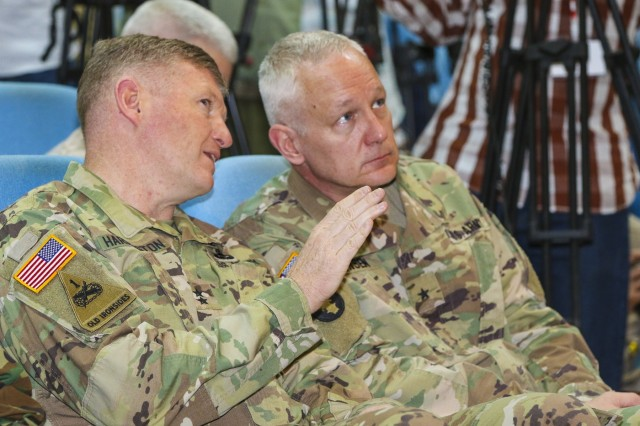 U.S. Army Africa commander Maj. Gen. Joseph Harrington and deputy commander Brig. Gen. Jon Jensen, share their thoughts during the closing ceremony of the U.S. Army Africa-led exercise Justified Accord 17 at the Peace and Support Training Center in Addis Ababa, Ethiopia, Mar. 24, 2017. JA17 is an annual weeklong joint exercise that brings together U.S. Army personnel, African partners, allies and international organizations to promote interoperability between participating nations for peacekeeping operations in the East Africa region. (U.S. Army Africa photo by Staff Sgt. Lance Pounds)
