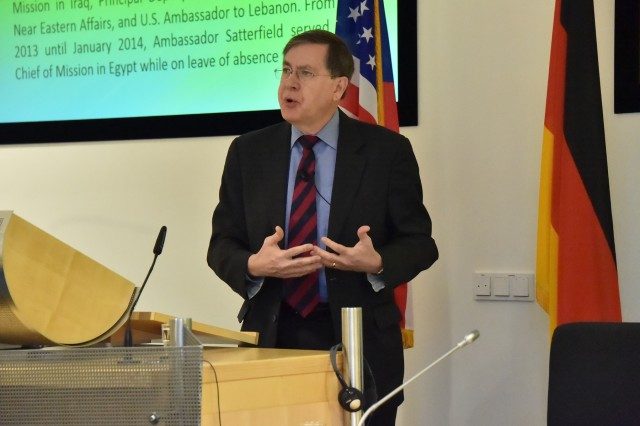 Ambassador David M. Satterfield, director general of the Multinational Force and Observers, headquartered in Rome, talks about diplomacy as a counterterrorism essential element 72 participants from 42 countries to the Program on Terrorism and Security Studies March 2 at the George C. Marshall European Center for Security Studies in Garmisch-Partenkirchen, Germany. (Marshall Center photo by U.S. Army Staff Sgt. Amanda Moncada)