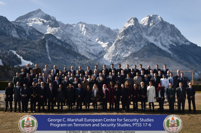 More than 70 counterterrorism military and civilian practitioners from 42 countries graduated from the Program on Terrorism Security Studies March 30 at the George C. Marshall European Center for Security Studies in Garmisch-Partenkirchen, Germany. (Marshall Center photo by Karl-Heinz Wedhorn)