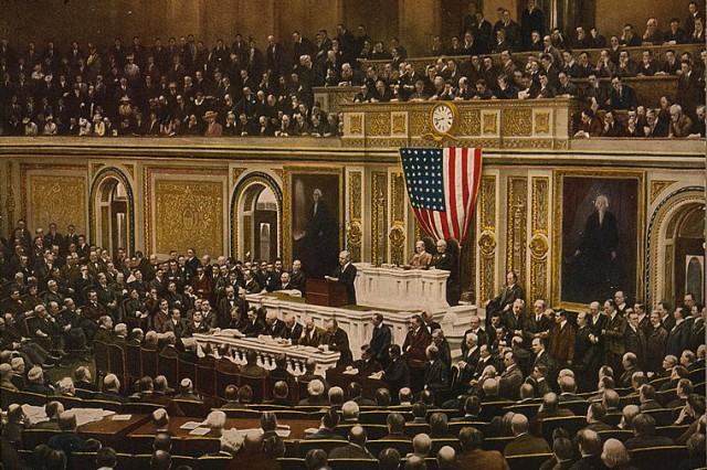 President Woodrow Wilson asks Congress to declare war on Germany, April 2, 1917. Library of Congress