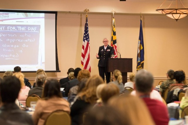 """""""Sometimes, we are our own worst enemies; we shoot ourselves down even before we get the opportunity to start doing it. Don't pre-determine your destiny in a negative way,"""" said Brig. Gen. Jill Faris, U.S. Army, deputy chief of staff, G-1/4/6, at NAVAIR's Women's History Month event March 23 in Patuxent River, Md. Faris spoke on leadership, mentoring and building relationships. (U.S. Navy photo)"""