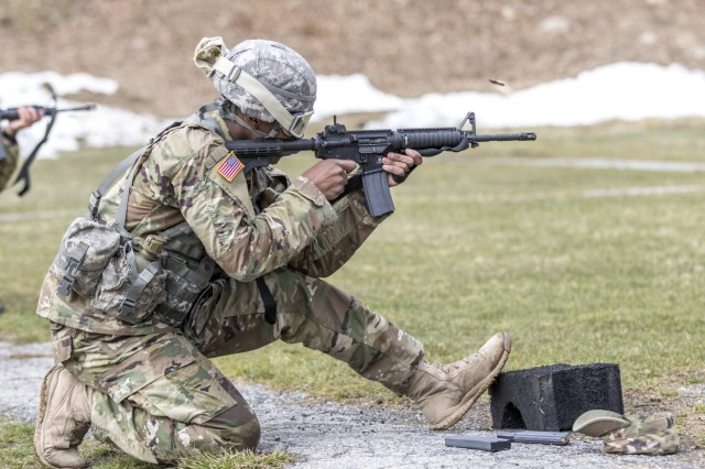 A Soldier fires during the weapon qualification for the New York Army National Guard Best Warrior Competition at Camp Smith Training Site March 30, 2017. The Best Warrior competitors represent each of New York's brigades after winning competitions at the company, battalion, and brigade levels. At the state level they are tested on their physical fitness, military knowledge, endurance, marksmanship, and land navigation skills. The two winners of the competition, one junior enlisted and one NCO, advance to compete at the regional level later this year.