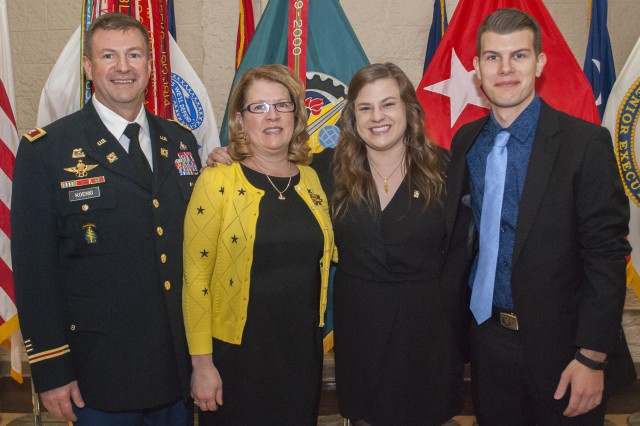 From left: Col. Lance Koenig, chief of staff, U.S. Army Sustainment Command, Kimberlie, wife, Rachel, daughter, and Lance Jr., son.