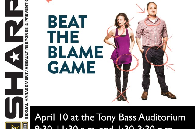 "Catharsis Productions, the creators of ""Sex Signals,"" which has been presenting to military audiences worldwide since 2011, will make a stop in Wiesbaden April 10, 2017 for two 90-minute presentations of ""Beat the Blame Game."" Get ready to get out of your comfort zone. This presentation will use audience engagement, humor and relatability to look at the most common reasons people blame the victim and support alleged perpetrators."