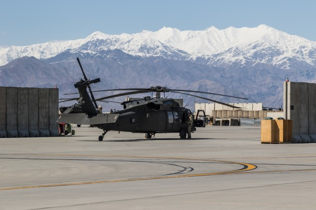 A U.S. Army UH-60 Black Hawk helicopter crew assigned to Task Force Flying Dragon, 16th Combat Aviation Brigade, 7th Infantry Division prepares for a flight at Bagram Airfield, Afghanistan, April 1, 2017. The Flying Dragons are preparing to assume their mission with U.S. Forces Afghanistan in support of Operation Freedom's Sentinel and Resolute Support Mission.
