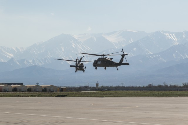 U.S. Army UH-60 Black Hawk helicopter pilots assigned to Task Force Flying Dragon, 16th Combat Aviation Brigade, 7th Infantry Division take flight at Bagram Airfield, Afghanistan, April 1, 2017. The Flying Dragons are preparing to assume their mission with U.S. Forces Afghanistan in support of Operation Freedom's Sentinel and Resolute Support Mission.