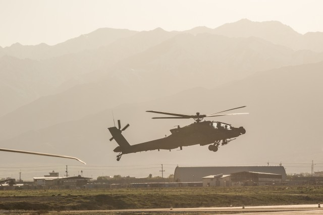 U.S. Army AH-64E Apache helicopter pilots assigned to Task Force Flying Dragon, 16th Combat Aviation Brigade, 7th Infantry Division land at Bagram Airfield, Afghanistan, April 1, 2017. The Flying Dragons are preparing to assume their mission with U.S. Forces Afghanistan in support of Operation Freedom's Sentinel and Resolute Support Mission.