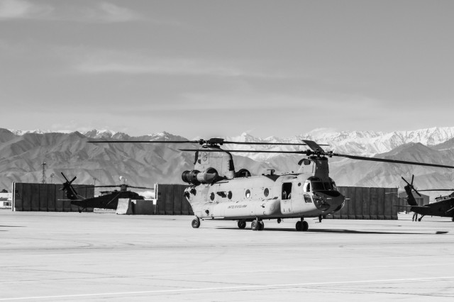 U.S. Army CH-47 helicopter pilots assigned to Task Force Flying Dragon, 16th Combat Aviation Brigade, 7th Infantry Division prepare to depart on a flight carrying U.S. Army Soldiers assigned to 1st Squadron, 14th Cavalry Regiment, 1st Stryker Brigade Combat Team, 2nd Infantry Division during training at Bagram Airfield, Afghanistan, April 1, 2017. The Cavalry troopers provide a ready response force for downed aircraft, and the training focused on preparing them to assume their mission in support of Operation Freedom's Sentinel and Resolute Support Mission.