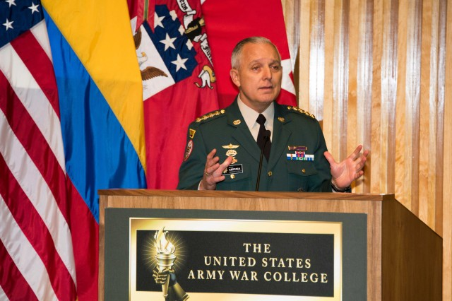 Gen. Alberto Mejia, speaks to the U.S. Army War College resident class of 2017, staff and faculty members during his induction into the International Fellows Hall of Fame, Bliss Hall.