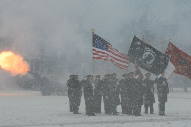 Military and civilian dignitaries and others braved a snowy day on April 1, 2017, to commemorate the First Muster in Salem, Mass. Howitzers blasted to honor the 380th anniversary of the event, which led to creation of the modern National Guard.