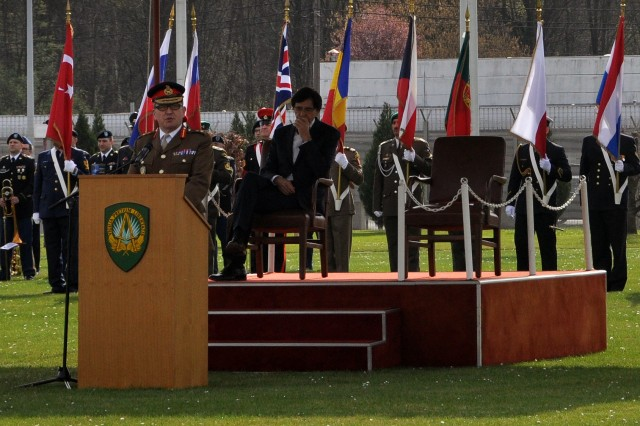 Deputy Supreme Allied Commander Europe, General Sir James Everard speaks during the 50th anniversary celebration at SHAPE March 31, 2017.