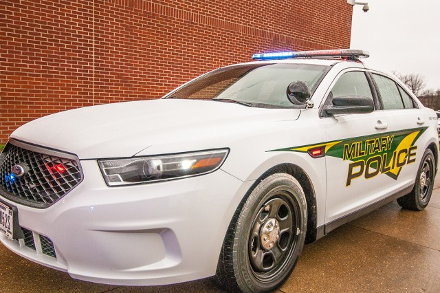 A new Joint Service Law Enforcement Vehicle Equipment Standardization patrol sedan is one of five new vehicles added to the Fort Leonard Wood Directorate of Emergency Services fleet.
