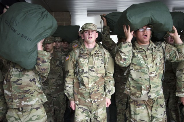 Soldiers in Training with 3rd Battalion, 34th Infantry Regiment struggle to keep their bags on their heads during roll call moments after arriving for the first day of Basic Combat Training April 3. The unit is called the 'Centennial Battalion' because it will graduate the closest to Fort Jackson's Centennial Celebration.