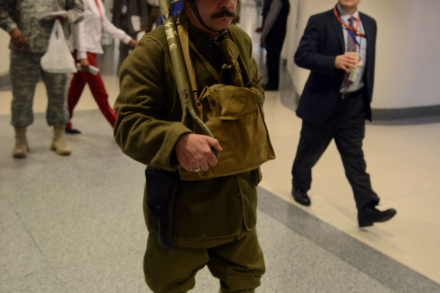 Mike Kirby, a World War I re-enactor, dresses in a engineer doughboy uniform. He was in the Pentagon, April 6, 2017, next to a World War I display, commemorating the centennial of the declaration of war against Germany, April 6, 2017.