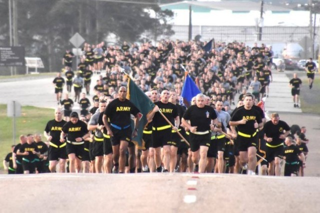 Soldiers participate in a second annual torch run in advance of Sexual Assault Awareness and Prevention Month at Fort Polk, La., March 29, 2017. The run is one of several projects the Fort Polk Sexual Harassment/Assault Response and Prevention team did over the past year to earn the Defense Department's Sexual Assault Prevention Innovation Award during a ceremony at the Pentagon, April 5, 2017.