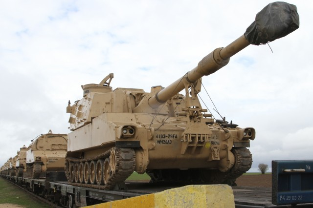 An M109A6 Paladin Self Propelled Howitzer, part of the artillery from Alpha Battery, 3rd Battalion, 29th Field Artillery Regiment makes its long-awaited arrival to Mihail Kogalniceanu Air Base on April 7, 2017. The Paladin was carried by train through many European countries on its way to Romania. It will support U.S. and Romanian forces in the field during Operation Atlantic Resolve, a NATO mission involving the U.S. and European Allies and partners that promotes peace and deters aggression. (Photo by Army Pvt. Nicholas Vidro, 7th Mobile Public Affairs Detachment)