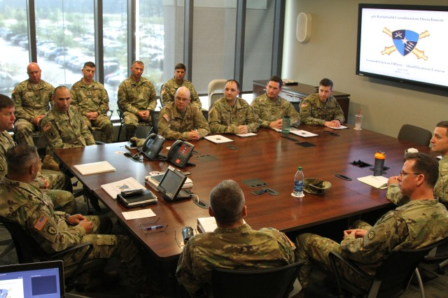 Speaking to the ground liaison officers U.S. Army Central Commander Lt. Gen. Michael Garrett discusses the current situation in the USARCENT area of operations and the role the GLOs have in the region April 6, 2017, at Shaw Air Force Base, S.C.