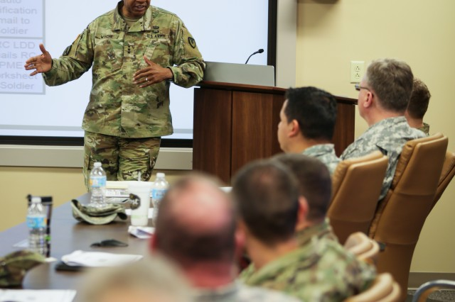 Army Materiel Command Deputy Commander Lt. Gen. Larry Wyche speaks to Reserve warrant officers during a professional development meeting April 5 at AMC headquarters. Wyche said the Army's Reserve component is an important element of building Army capability. The professional development meeting was the first held by AMC's Army Reserve Element at AMC headquarters, Redstone Arsenal, AL.