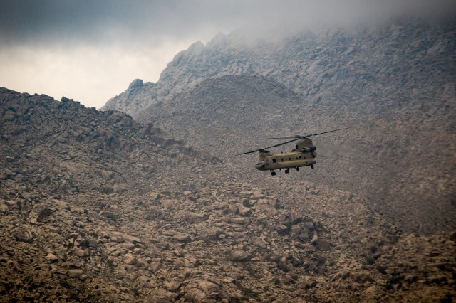 .S. Army CH-47 Chinook helicopter pilots assigned to Task Force Flying Dragons, 16th Combat Aviation Brigade, 7th Infantry Division fly near Jalalabad, Afghanistan, April 5, 2017. The Flying Dragons are preparing to assume their mission in support of Operation Freedom's Sentinel and Resolute Support Mission.