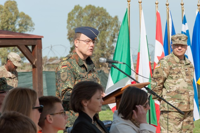 German Maj. Gen. Walter Huhn, the NATO CIS Group commander served as reviewing officer, and offered remarks during a change of command ceremony for 2nd NATO Signal Battalion at Grazzanise, Italy Apr. 4. With approximately 140 U.S. Soldiers assigned to its ranks, the 2NSB is the largest single concentration of U.S. Army Personnel in a NATO organization. U.S. Army personnel fill roles within the battalion ranging from mechanics and technicians, all the way up to the commander and senior enlisted leader.