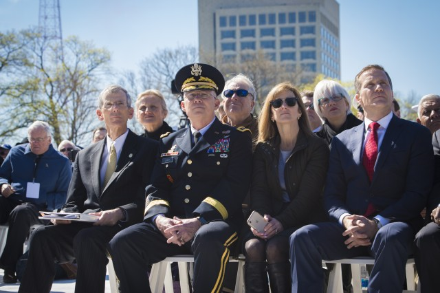 (left to right) Acting Secretary of the Army Robert M. Speer, Lt. Gen. Michael D. Lundy. Commanding General, US Army. Combined Arms Center and Fort. Leavenworth, KS, and Missouri Governor Eric Greitens look on at the WWI National Centennial Ceremony held by the World War I Museum, Kansas City, MO, April. 06, 2017.
