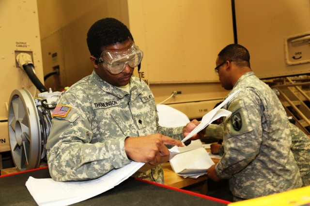 Spc. David Thomlinson with the 79th Quartermaster Company at Houston, Texas, a student in the Chemical and Quartermaster Equipment Repair Course at Regional Training Site-Maintenance, works on a class project Feb. 10, 2017, at Fort McCoy, Wis. The class teaches Soldiers classifying into the Army's 91J military occupational specialty. (U.S. Army Photo by Scott T. Sturkol, Public Affairs Office, Fort McCoy, Wis.)