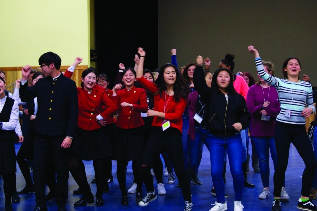 "Students from Humphreys High School and Korea Tourism Senior High School in Pyeongtaek met and got to know each other on March 21 during LinguaFest 2017. In addition to speaking in each other's language, the students danced to the Korean Pop song ""Gangnam Style."" LinguaFest is a language-immersion experience that exposes students to foreign languages and cultures."