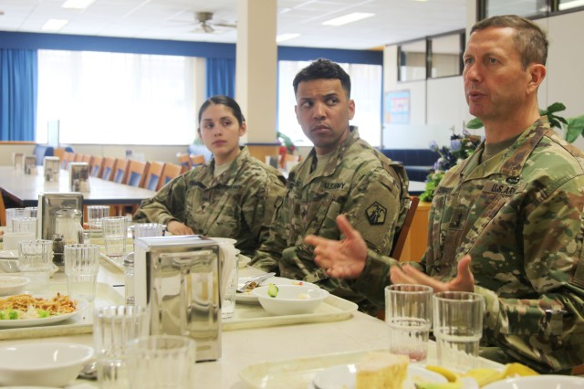 KAISERSLAUTERN, Germany -- Maj. Gen. David Conboy, deputy commanding general - operations, United States Army Reserve Command, speaks with company-grade officers from the 7th Mission Support Command, April 8 at the Clock Tower Dining Facility on Kleber Kaserne. Conboy was visiting April 8-9 in order to be briefed on the MSC's readiness. (U.S. Army Photo by Capt. Doug Magill, 7th Mission Support Command Public Affairs)