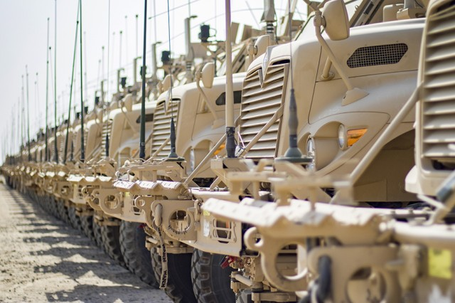 Vehicles and equipment are pre-positioned at the wharf at the Army Strategic Logistics Activity-Charleston in Charleston, South Carolina, in June 2015. This equipment was being shipped to Europe to build up the European Activity Set, part of the Army's pre-positioned stocks program.