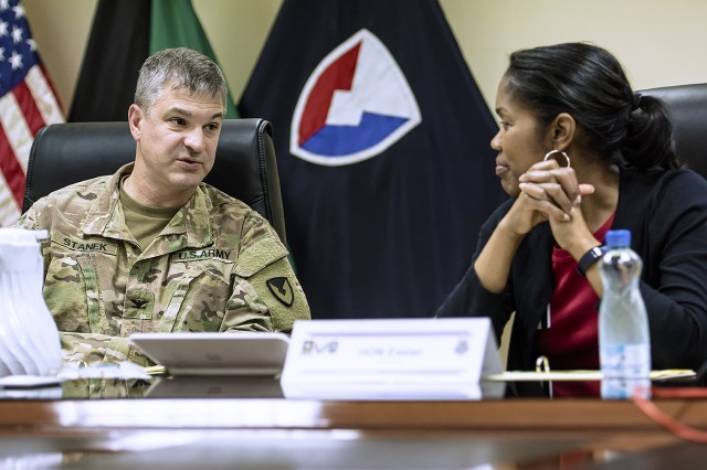 401st Army Field Support Brigade Commander, Col. Aaron Stanek (left), discusses theater readiness and sustainment strategy with Steffanie Easter, acting assistant secretary of the Army for acquisition, logistics and technology during a tour of brigade facilities at Camp Arifjan, Kuwait, April 11. (U.S. Army Photo by Justin Graff, 401st AFSB Public Affairs)