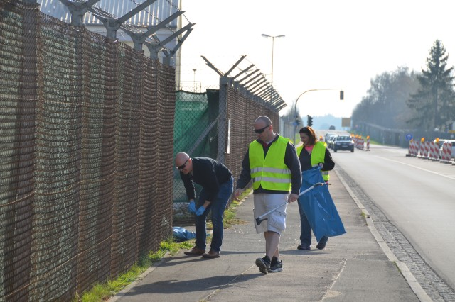 Soldiers from 3rd General Support Aviation Battalion, 10th Combat Aviation Brigade, clean up a roadside outside Katterbach Kaserne, Apr. 03, 2017.  One Saturday each spring, the city of Ansbach hosts a citywide cleanup called Ansbach Saub(ä)er, during which volunteers pick up litter along the roadside.