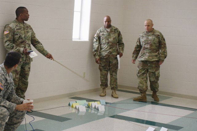 Students prepare for a theater rehearsal of concept drill at Fort Leavenworth, Kansas. The drill is the final requirement for the Theater Sustainment Planners Program.