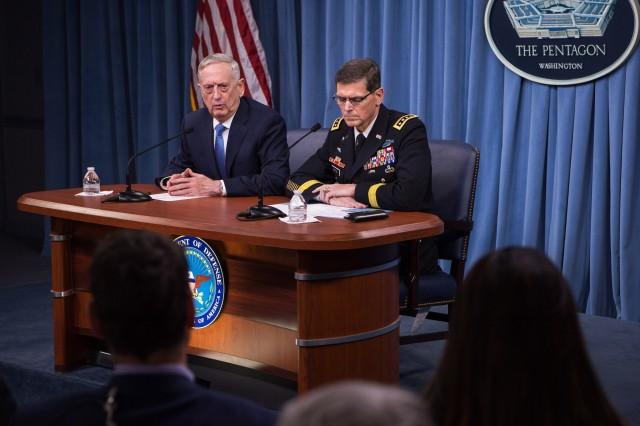 Defense Secretary Jim Mattis and Army Gen. Joseph Votel, commander of U.S. Central Command, brief reporters at the Pentagon, April 11, 2017.