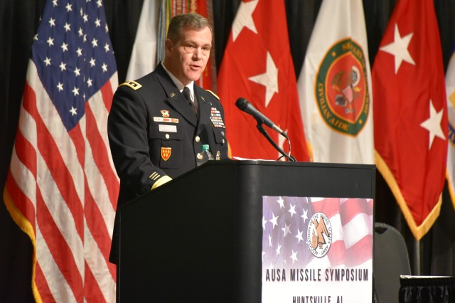 Lt. Gen. James H. Dickinson, commanding general, U.S. Army Space and Missile Defense Command/Army Forces Strategic Command, addresses the 18th Association of the U.S. Army Missile Symposium in Huntsville, Alabama, April 11.