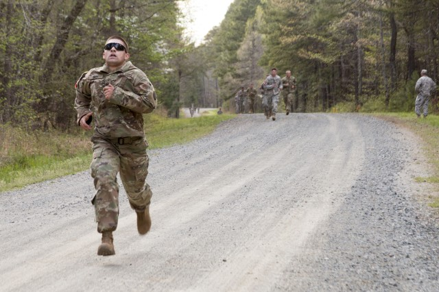 Pfc. Kyle Smith of the 151st Mobility Augmentation Company, 105th Engineer Battalion, NC National Guard, outruns the competition during the non-standard Army Physical Fitness Test during the 2017 Sapper Stakes Invitational held at Camp Butner on April 7, 2017. The event brings together the engineer community to build leadership and camaraderie from across the state of North Carolina Guard and Reserve Component engineer units.
