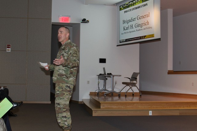 Brig. Gen. Karl H. Gingrich delivers the keynote address during the COMSEC Integration IPT on April 4 at Aberdeen Proving Ground, Maryland.